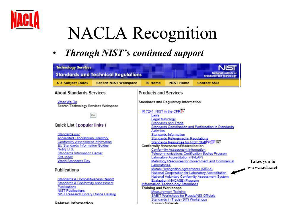 NACLA Recognition Through NISTs continued support Takes you to www.nacla.net