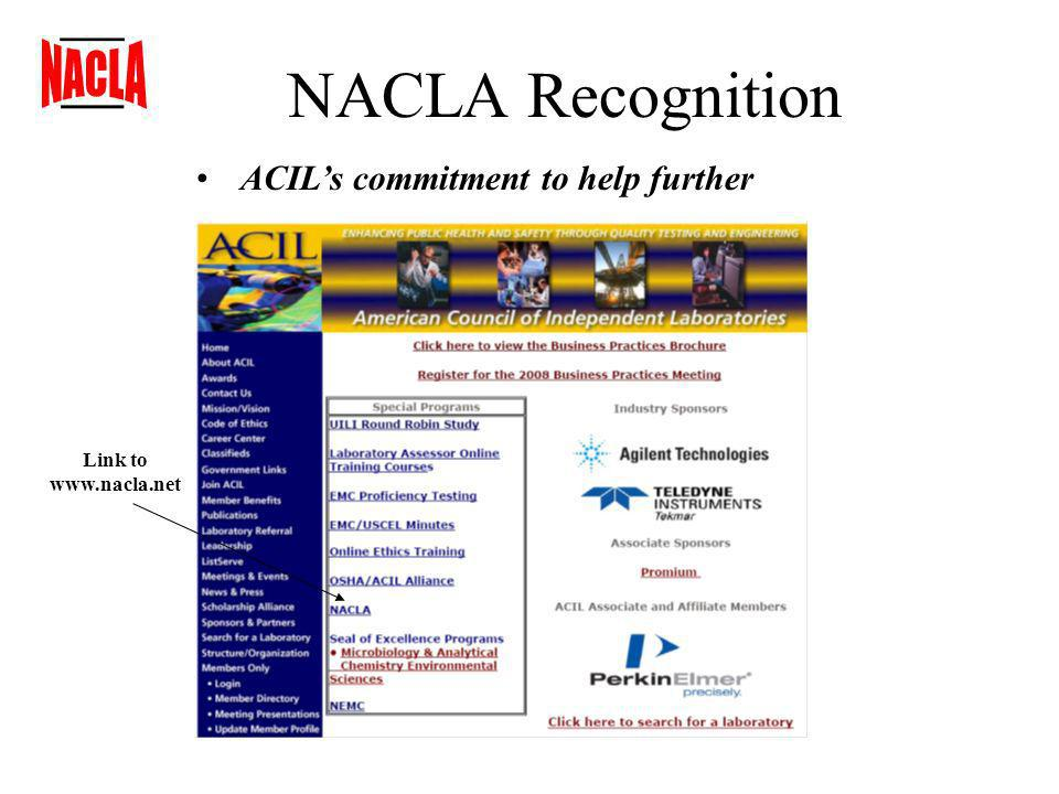 NACLA Recognition ACILs commitment to help further Link to www.nacla.net