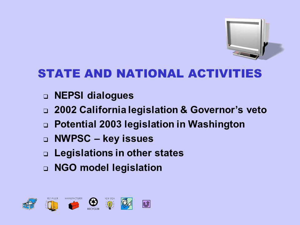 NEPSI dialogues 2002 California legislation & Governors veto Potential 2003 legislation in Washington NWPSC – key issues Legislations in other states NGO model legislation STATE AND NATIONAL ACTIVITIES