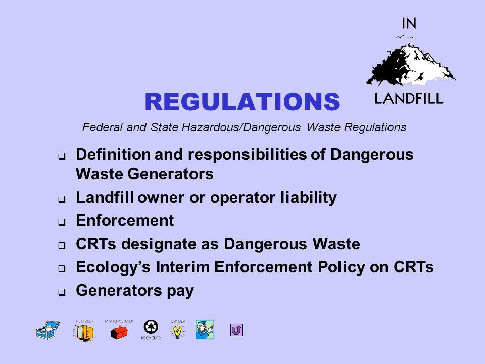 Definition and responsibilities of Dangerous Waste Generators Landfill owner or operator liability Enforcement CRTs designate as Dangerous Waste Ecologys Interim Enforcement Policy on CRTs Generators pay Federal and State Hazardous/Dangerous Waste Regulations REGULATIONS