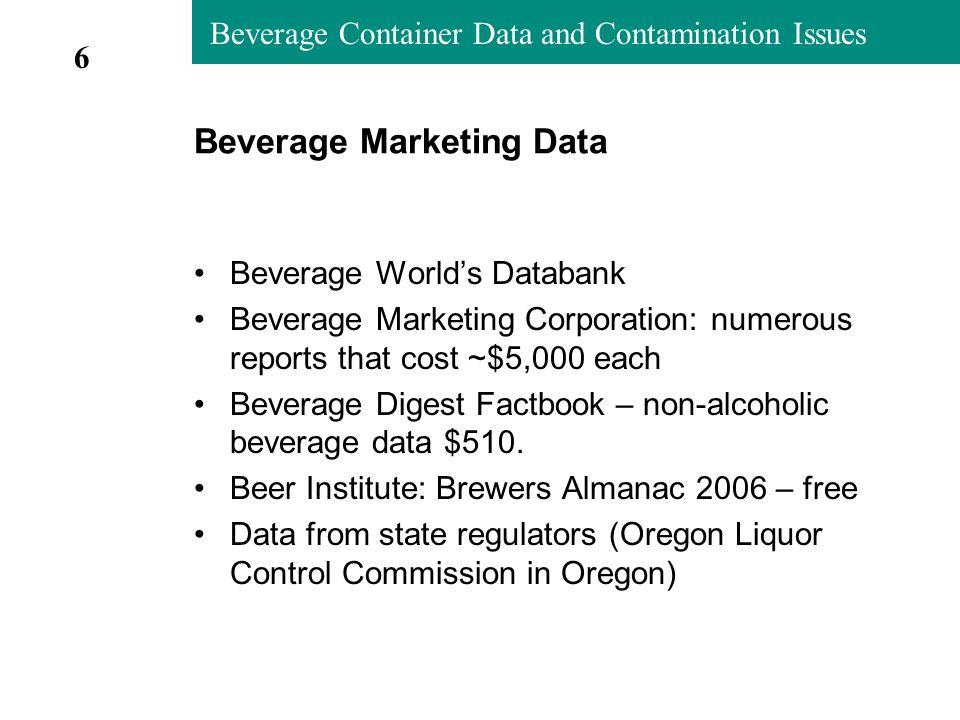 Beverage Container Data and Contamination Issues Disposal by Plastic Beverage Container (2005 preliminary estimates) October 4, 2006 TonsPercent Beverage Percent RPCs Deposit Bottles1,83715.8%4.4% Water Bottles2,68023.0%6.4% Juice/Tea/Sports Drinks4,03734.7%9.7% Milk Jugs/Bottles2,57722.1%6.2% Liquor Bottles2932.5%0.7% Other Beverages2161.9%0.5% Total11,640100.0%27.9% 17