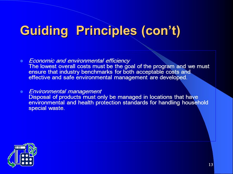 13 Guiding Principles (cont) Economic and environmental efficiency The lowest overall costs must be the goal of the program and we must ensure that industry benchmarks for both acceptable costs and effective and safe environmental management are developed.