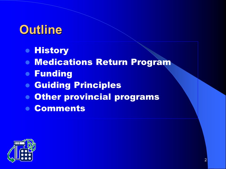 2 History Medications Return Program Funding Guiding Principles Other provincial programs Comments Outline