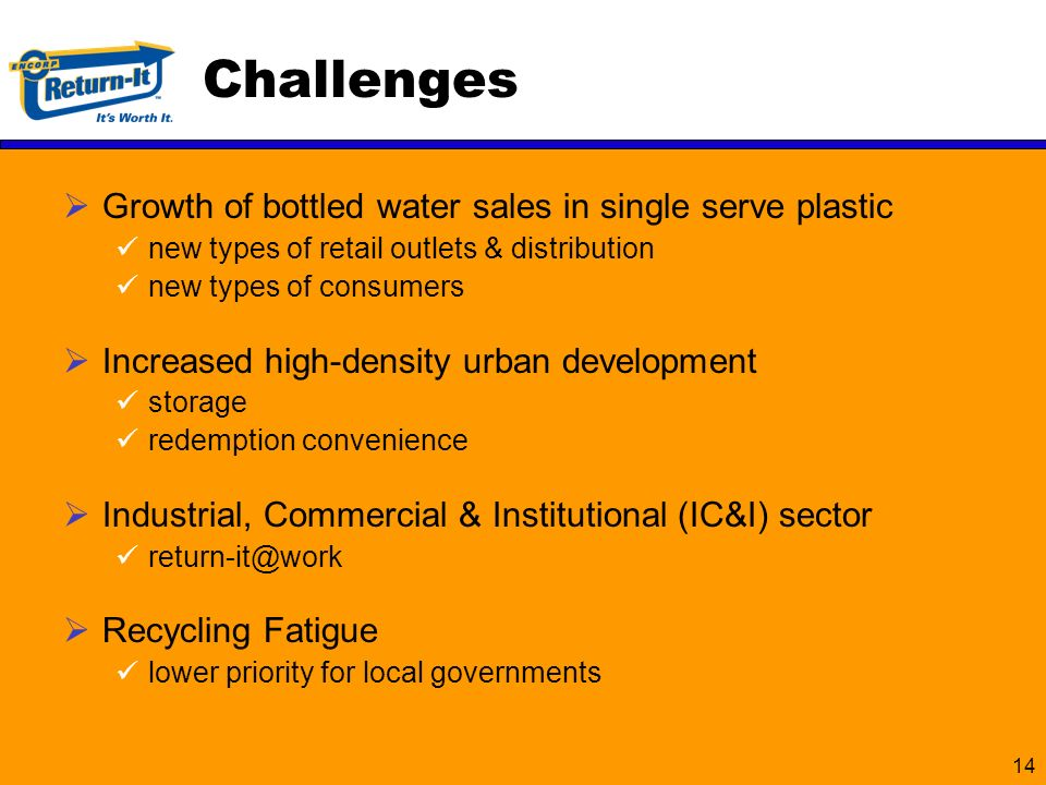 14 Growth of bottled water sales in single serve plastic new types of retail outlets & distribution new types of consumers Increased high-density urban development storage redemption convenience Industrial, Commercial & Institutional (IC&I) sector return-it@work Recycling Fatigue lower priority for local governments Challenges