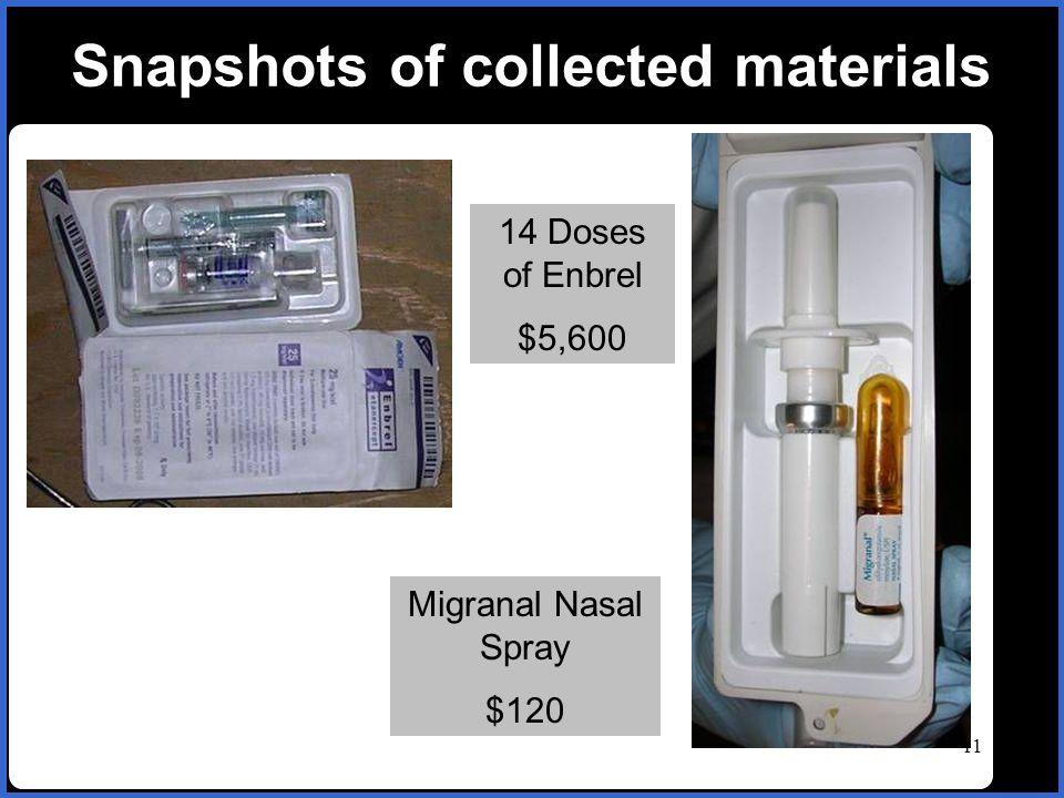 name 11 Snapshots of collected materials 14 Doses of Enbrel $5,600 Migranal Nasal Spray $120