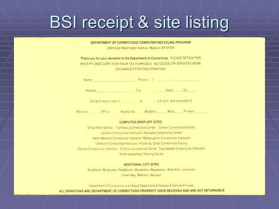 BSI receipt & site listing