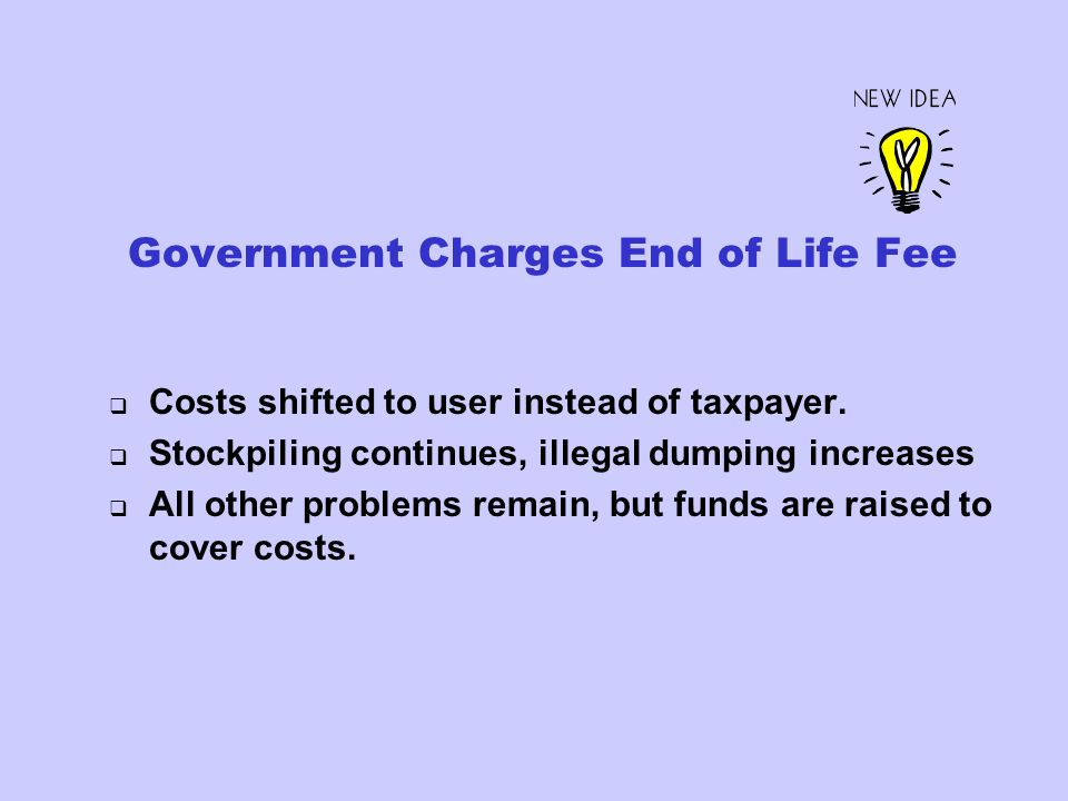 Government Charges End of Life Fee Costs shifted to user instead of taxpayer.
