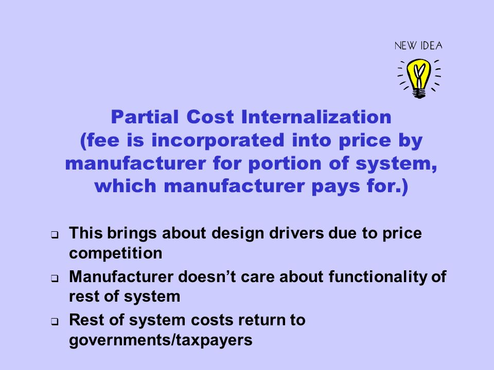 Partial Cost Internalization (fee is incorporated into price by manufacturer for portion of system, which manufacturer pays for.) This brings about de