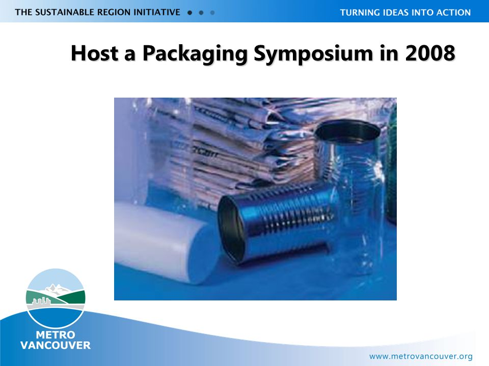 Livable Region Strategy Plan Review towards 2031 Host a Packaging Symposium in 2008