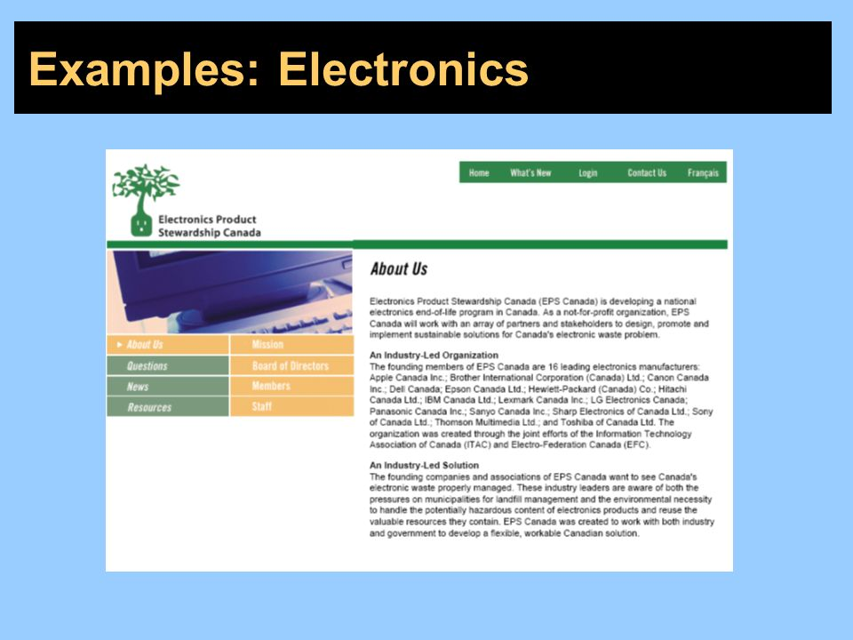 Examples: Electronics