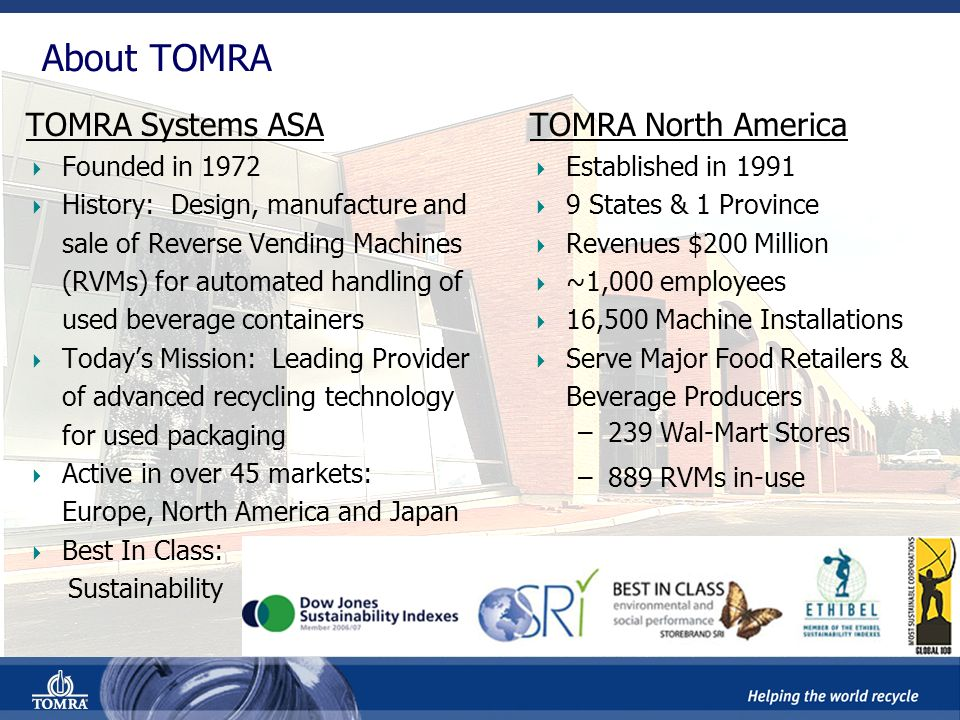 TOMRAs Position In The Recycling Value Chain Sorting & Processing Back-end processing systems Front-end collection systems Recycling Logistics Collection For beverage containers and rigid packaging For general household, industrial and special waste Material Reclaiming For Recycled- Content packaging