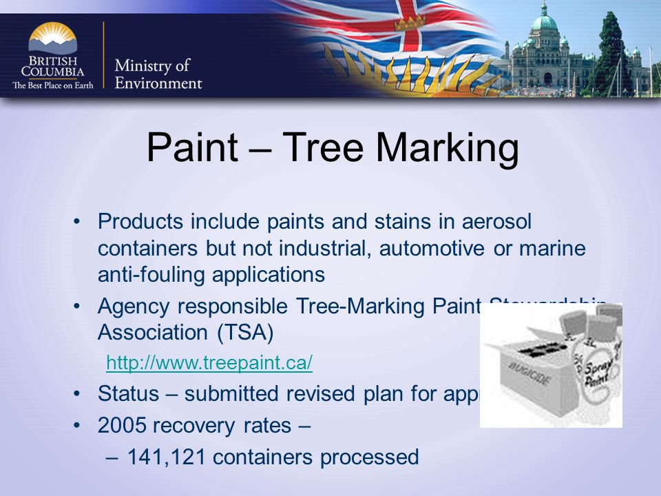 Paint – Tree Marking Products include paints and stains in aerosol containers but not industrial, automotive or marine anti-fouling applications Agency responsible Tree-Marking Paint Stewardship Association (TSA) http://www.treepaint.ca/ Status – submitted revised plan for approval 2005 recovery rates – –141,121 containers processed