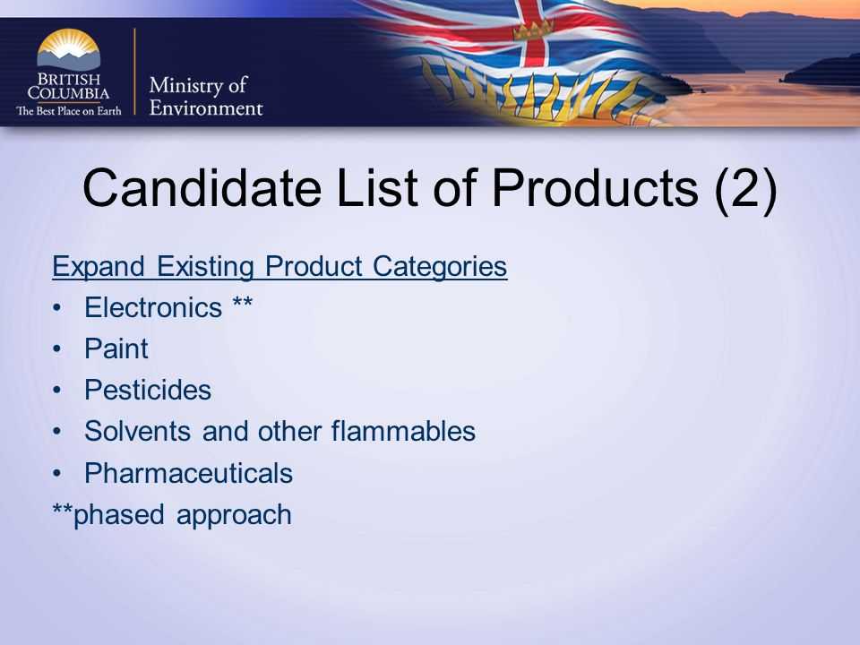 Candidate List of Products (2) Expand Existing Product Categories Electronics ** Paint Pesticides Solvents and other flammables Pharmaceuticals **phased approach