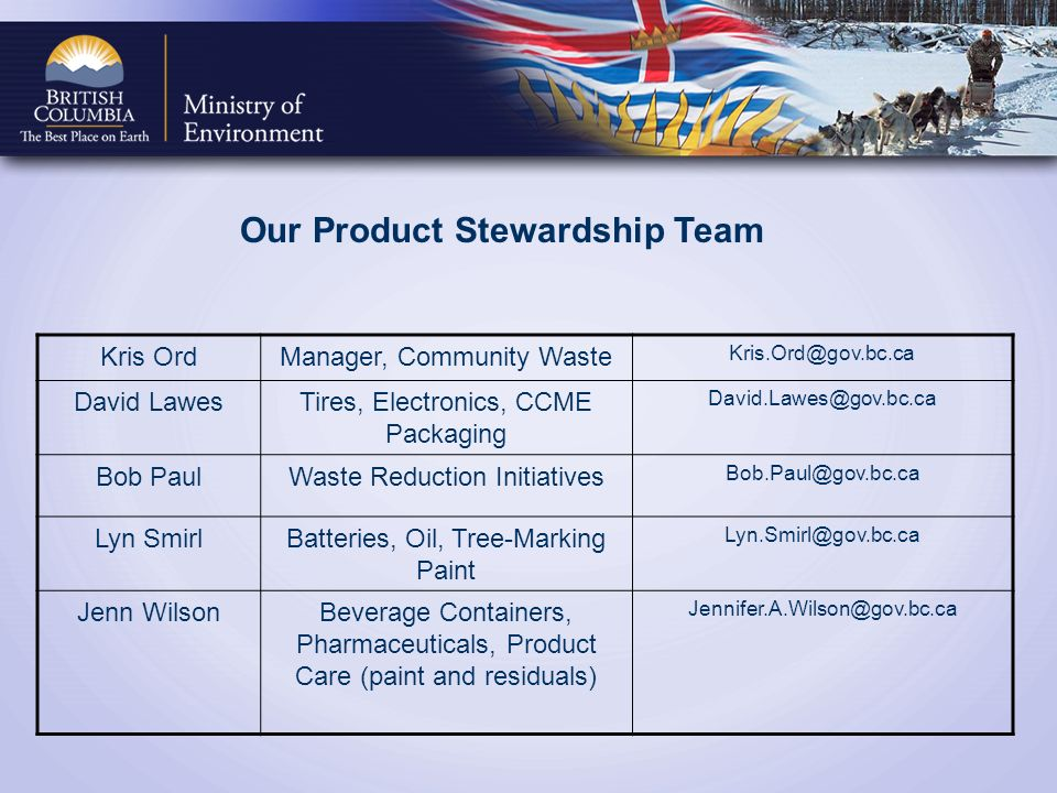 Kris OrdManager, Community Waste Kris.Ord@gov.bc.ca David LawesTires, Electronics, CCME Packaging David.Lawes@gov.bc.ca Bob PaulWaste Reduction Initiatives Bob.Paul@gov.bc.ca Lyn SmirlBatteries, Oil, Tree-Marking Paint Lyn.Smirl@gov.bc.ca Jenn WilsonBeverage Containers, Pharmaceuticals, Product Care (paint and residuals) Jennifer.A.Wilson@gov.bc.ca Our Product Stewardship Team