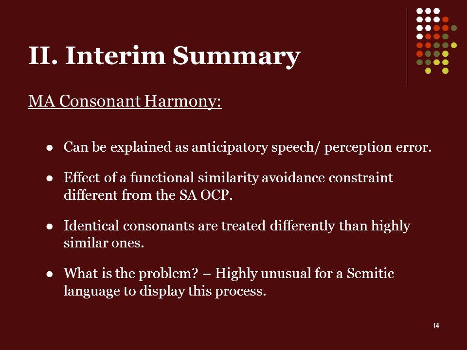 14 II. Interim Summary MA Consonant Harmony: Can be explained as anticipatory speech/ perception error. Effect of a functional similarity avoidance co