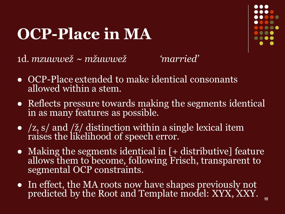 18 OCP-Place in MA 1d.