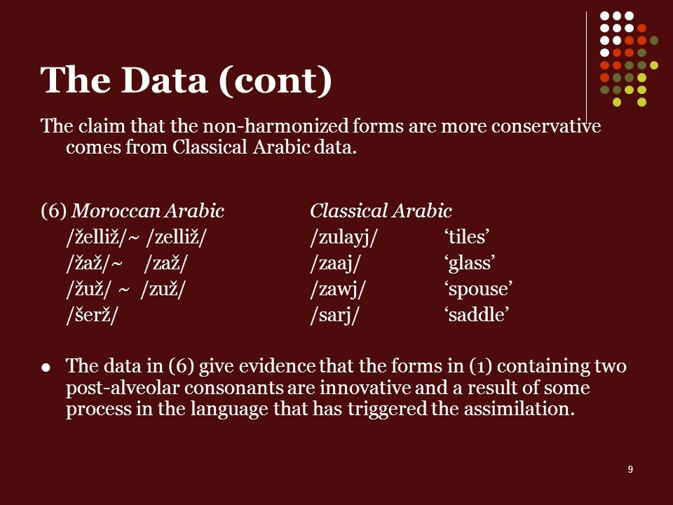 9 The Data (cont) The claim that the non-harmonized forms are more conservative comes from Classical Arabic data.