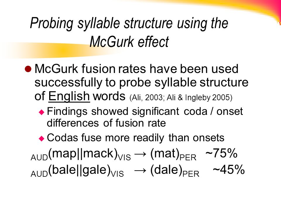 Probing syllable structure using the McGurk effect McGurk fusion rates have been used successfully to probe syllable structure of English words (Ali,
