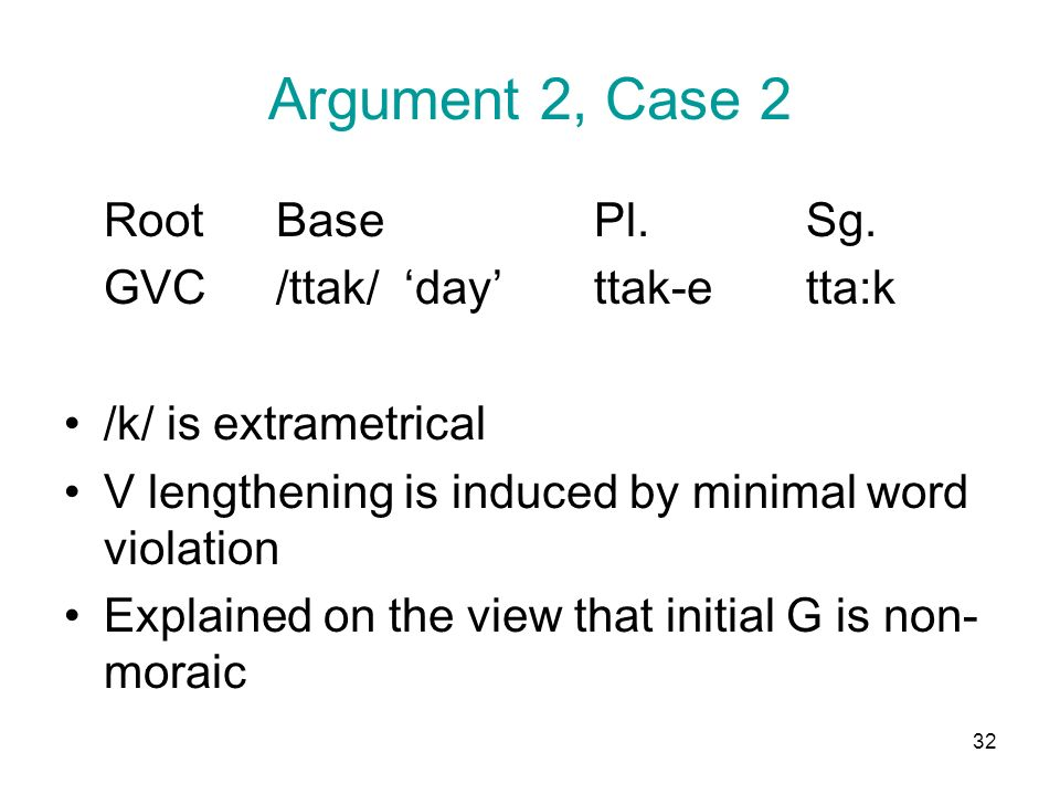 32 Argument 2, Case 2 RootBasePl.Sg. GVC/ttak/ dayttak-etta:k /k/ is extrametrical V lengthening is induced by minimal word violation Explained on the