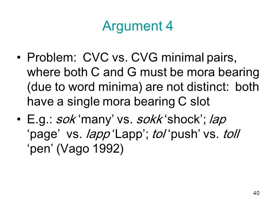 40 Argument 4 Problem: CVC vs.