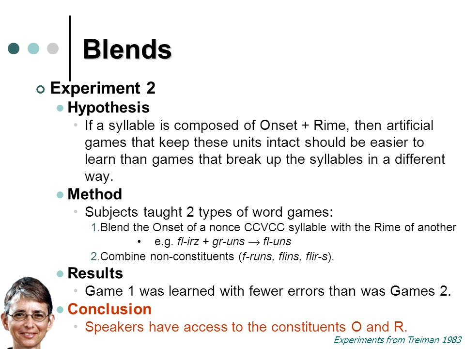 Blends Experiment 2 Hypothesis If a syllable is composed of Onset + Rime, then artificial games that keep these units intact should be easier to learn than games that break up the syllables in a different way.