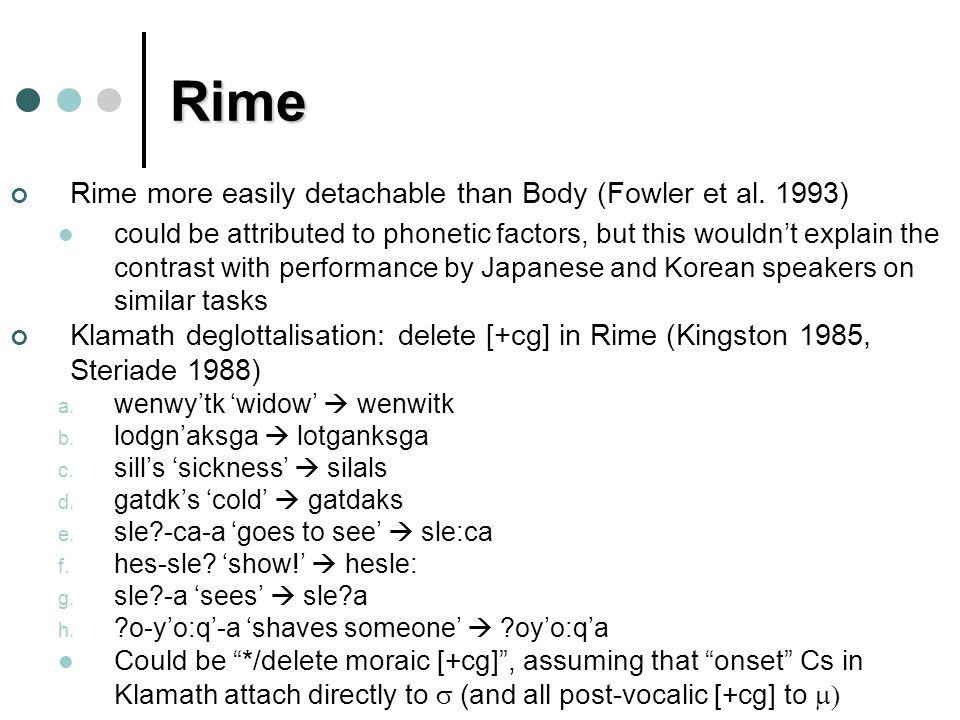 Rime Rime more easily detachable than Body (Fowler et al.
