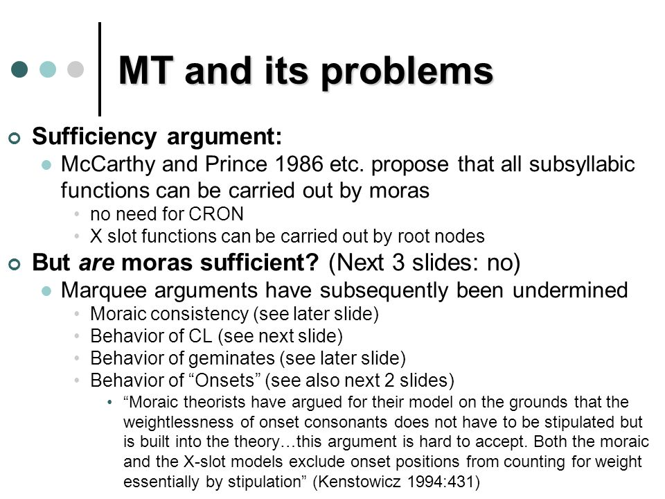 MT and its problems Sufficiency argument: McCarthy and Prince 1986 etc.