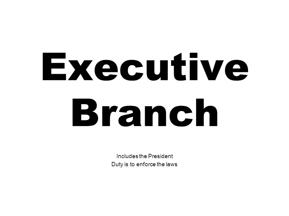 Executive Branch Includes the President Duty is to enforce the laws