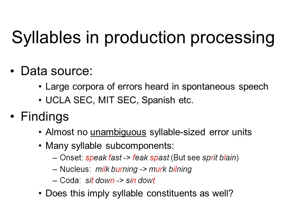 Syllables in production processing Are they units of serial ordering.