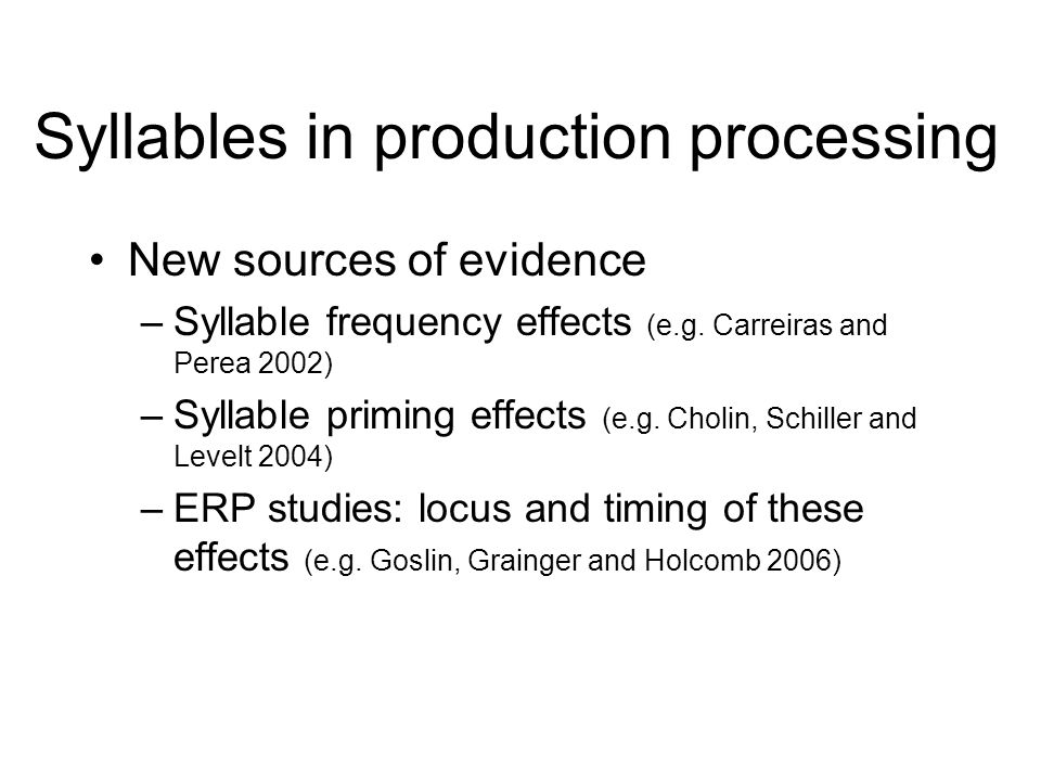 Outline The syllable seems obvious as a unit –But, caveats Role of the syllable in production processing –Units of serial ordering –Phonological planning framework –Units of stored motor programs New sources of evidence