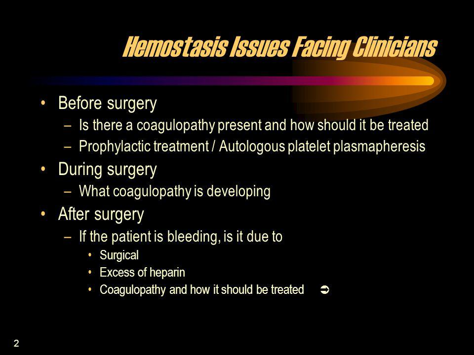2 Hemostasis Issues Facing Clinicians Before surgery –Is there a coagulopathy present and how should it be treated –Prophylactic treatment / Autologou