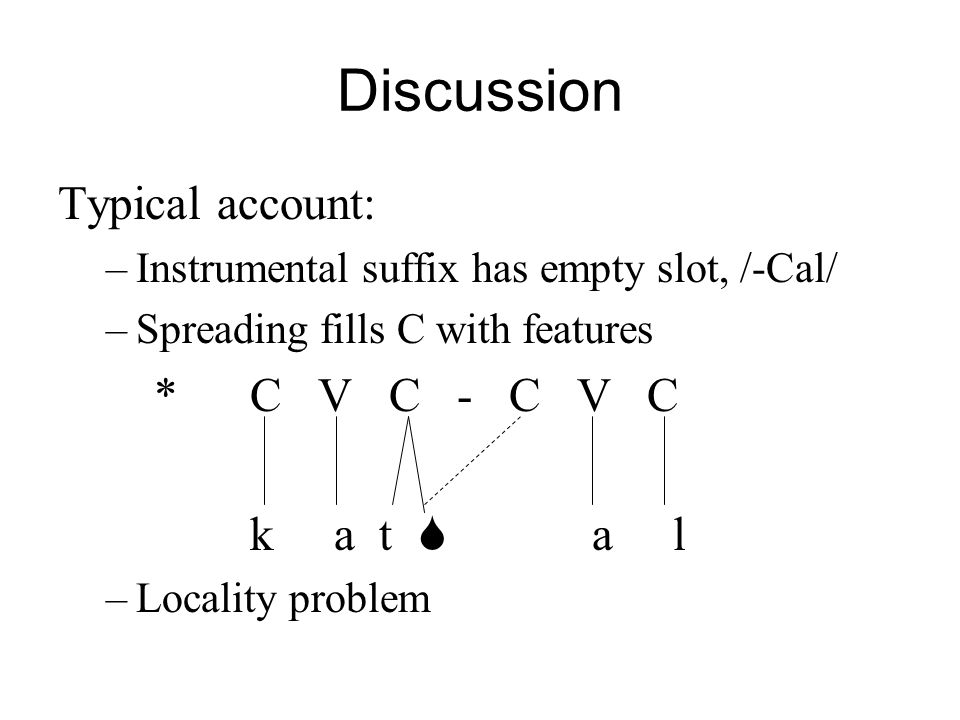 Discussion Typical account: –Instrumental suffix has empty slot, /-Cal/ –Spreading fills C with features *C V C - C V C k a t a l –Locality problem