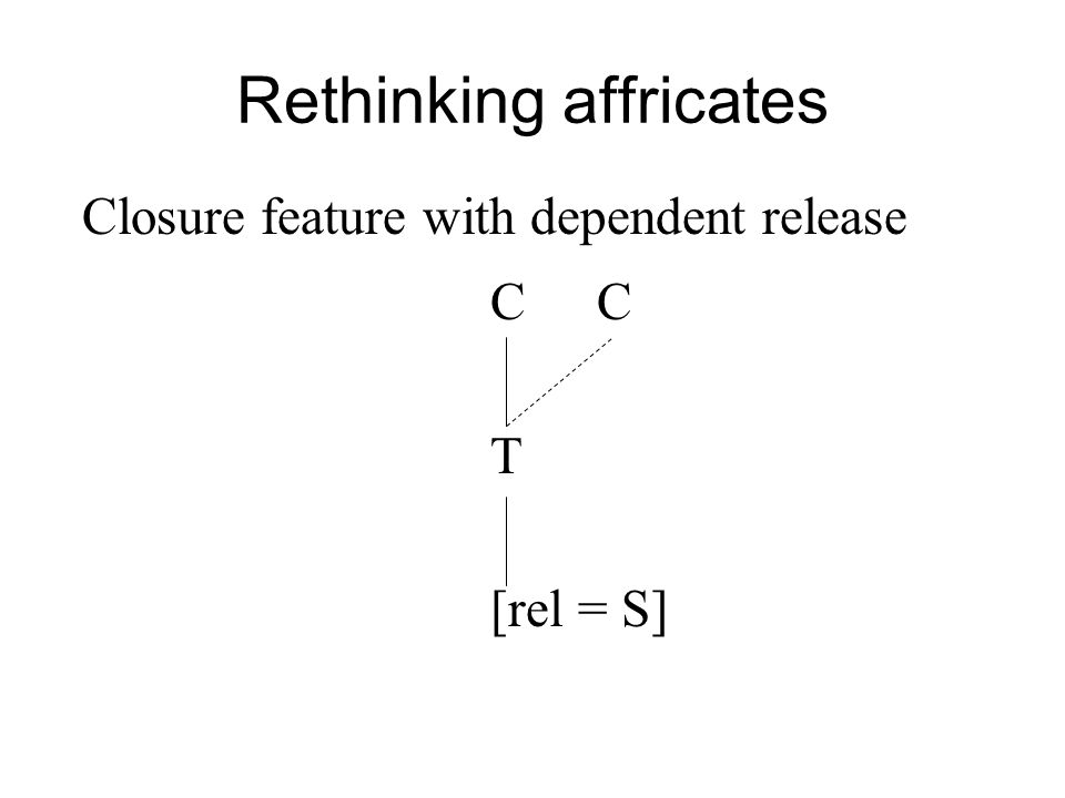 Rethinking affricates C T [rel = S] Closure feature with dependent release