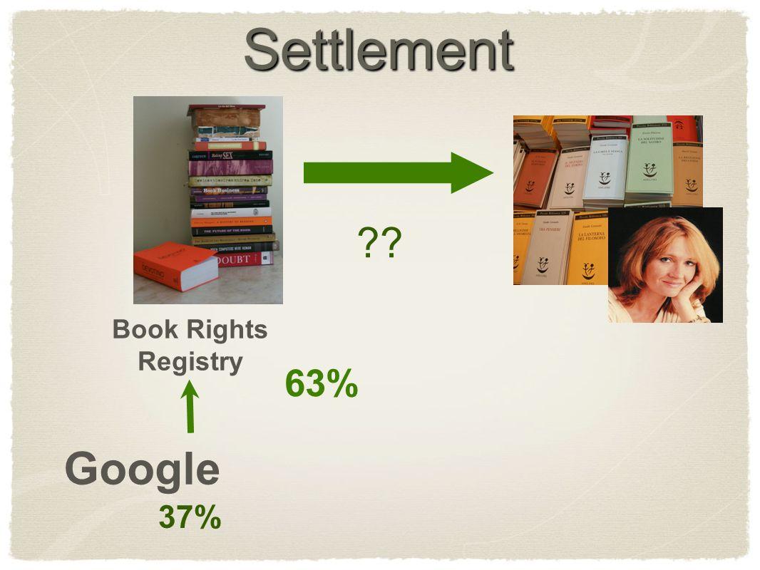 Settlement Book Rights Registry Google 63% 37%