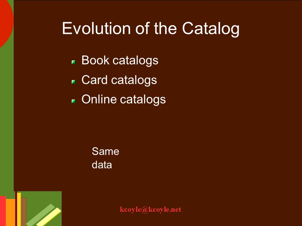 Evolution of the Catalog Book catalogs Card catalogs Online catalogs Same data