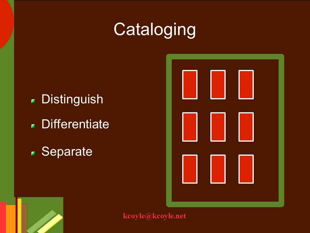 kcoyle@kcoyle.net Cataloging Distinguish Differentiate Separate