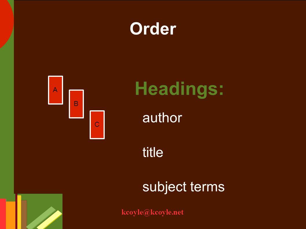kcoyle@kcoyle.net Order 11.11.2 Taxonomy