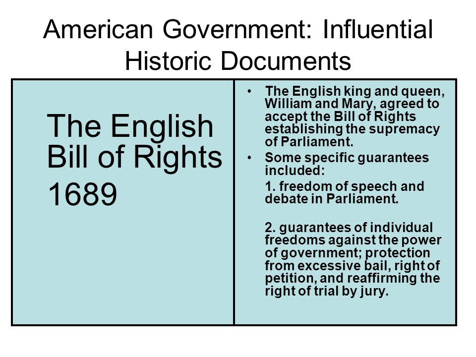 American Government: Influential Historic Documents The English Bill of Rights 1689 The English king and queen, William and Mary, agreed to accept the Bill of Rights establishing the supremacy of Parliament.