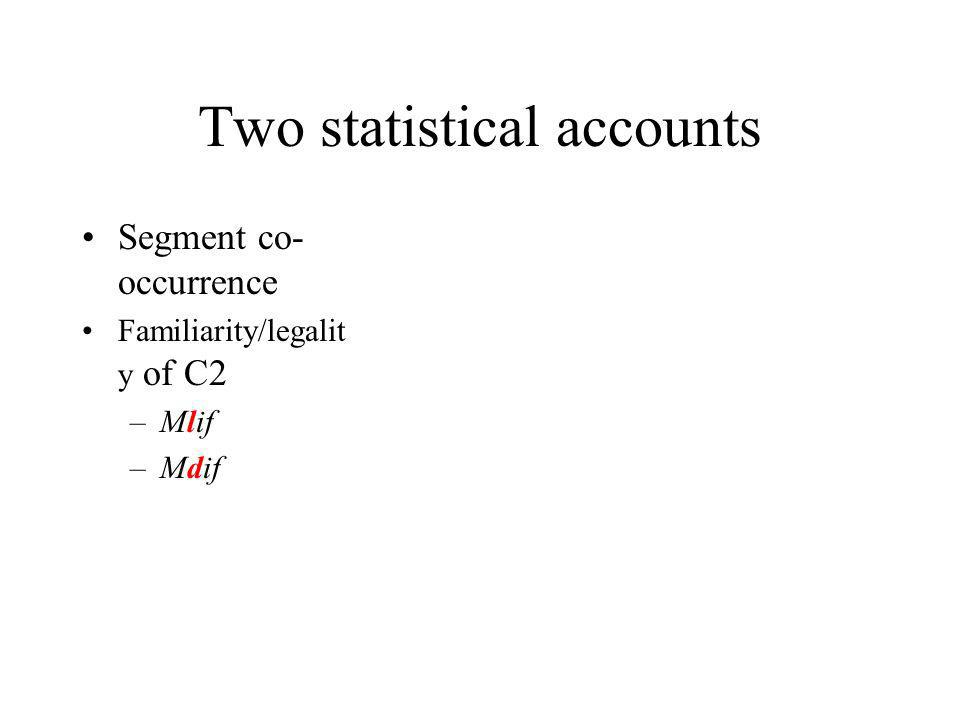 Two statistical accounts Segment co- occurrence