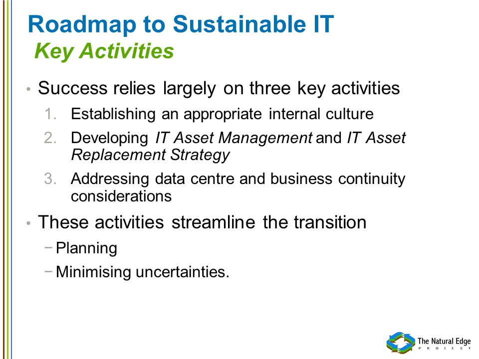 Successful Sustainable IT 1.Develop Understanding and Acceptance B.