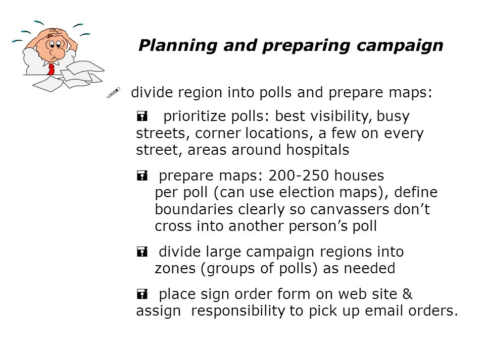 Planning and preparing campaign ! divide region into polls and prepare maps: = prioritize polls: best visibility, busy streets, corner locations, a fe