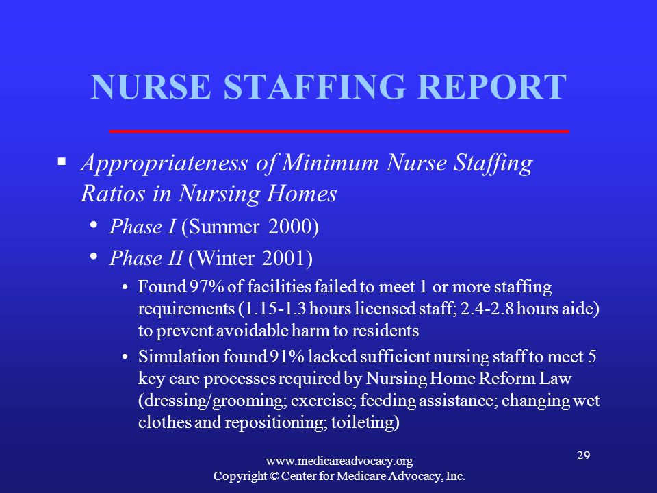www.medicareadvocacy.org Copyright © Center for Medicare Advocacy, Inc. 29 NURSE STAFFING REPORT Appropriateness of Minimum Nurse Staffing Ratios in N