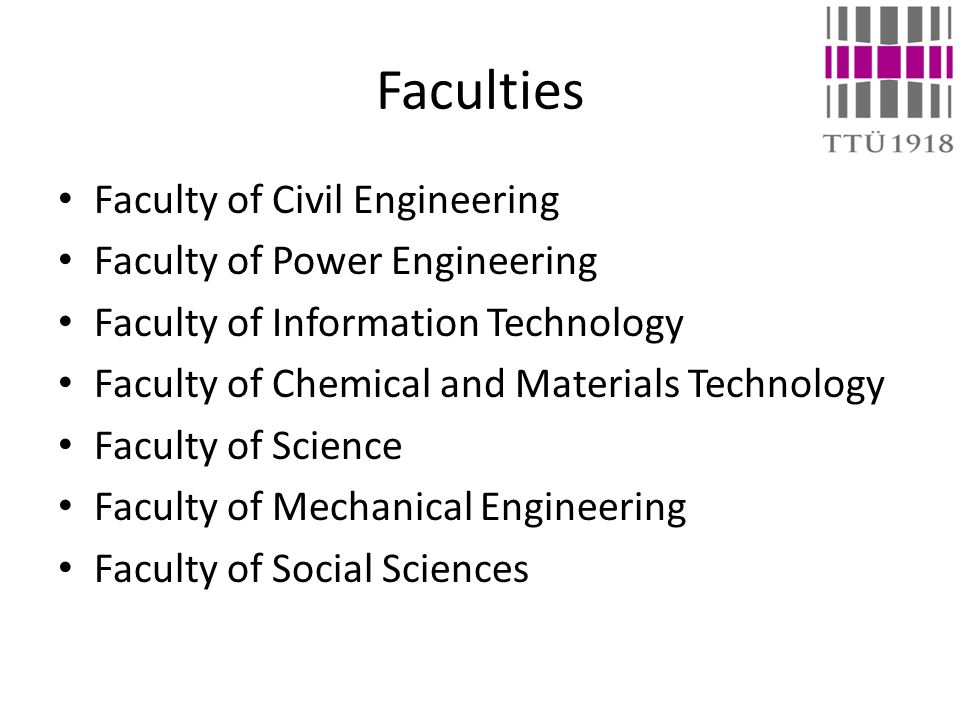 Faculties Faculty of Civil Engineering Faculty of Power Engineering Faculty of Information Technology Faculty of Chemical and Materials Technology Faculty of Science Faculty of Mechanical Engineering Faculty of Social Sciences