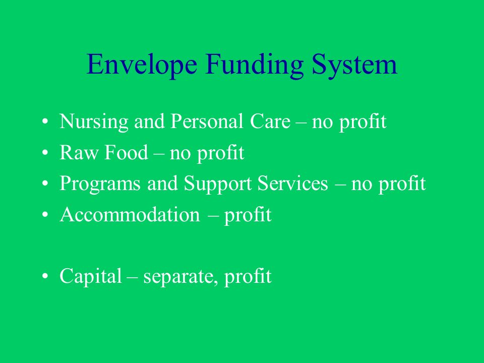 Envelope Funding System Nursing and Personal Care – no profit Raw Food – no profit Programs and Support Services – no profit Accommodation – profit Capital – separate, profit