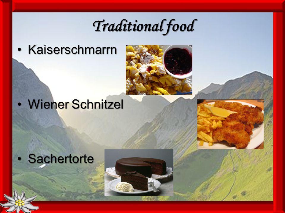 Traditional food KaiserschmarrnKaiserschmarrn Wiener SchnitzelWiener Schnitzel SachertorteSachertorte