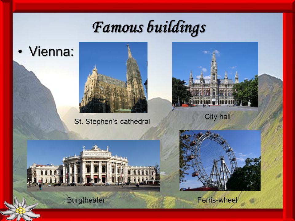 Famous buildings Vienna:Vienna: St. Stephens cathedral City hall BurgtheaterFerris-wheel
