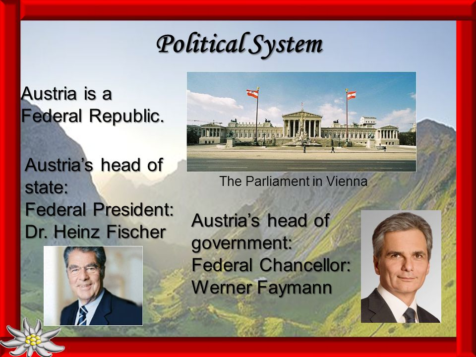 Political System The Parliament in Vienna Austria is a Federal Republic.
