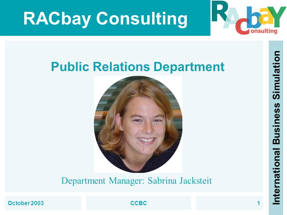 RACbay Consulting International Business Simulation October 2003CCBC2 Public Relations Department Employee: Anke Rosenmüller