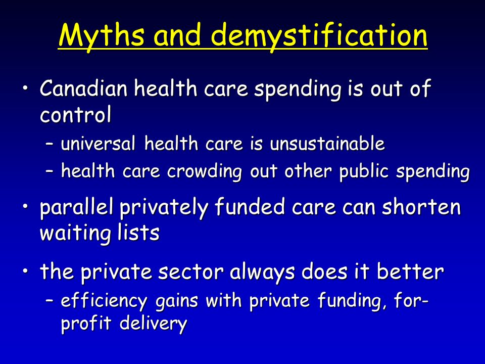 Myths and demystification Canadian health care spending is out of controlCanadian health care spending is out of control –universal health care is uns