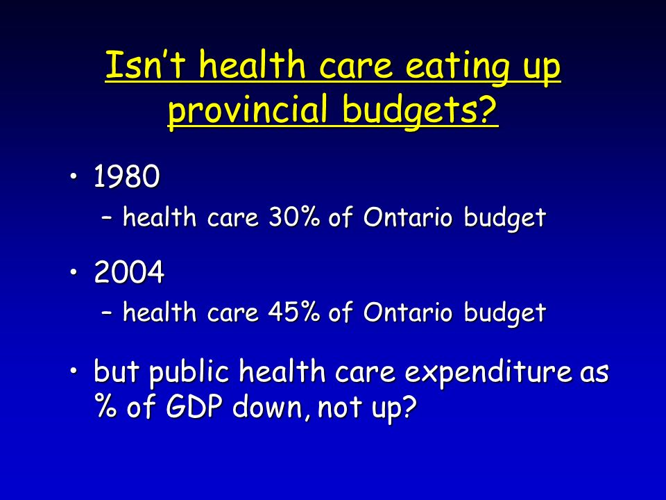 Isnt health care eating up provincial budgets.